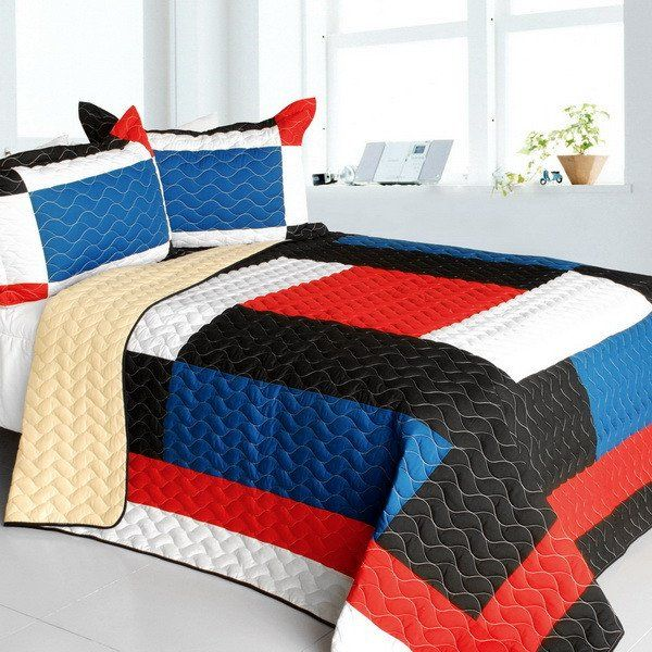 Water Ballet 3PC Vermicelli - Quilted Patchwork Quilt Set (Full/Queen Size)