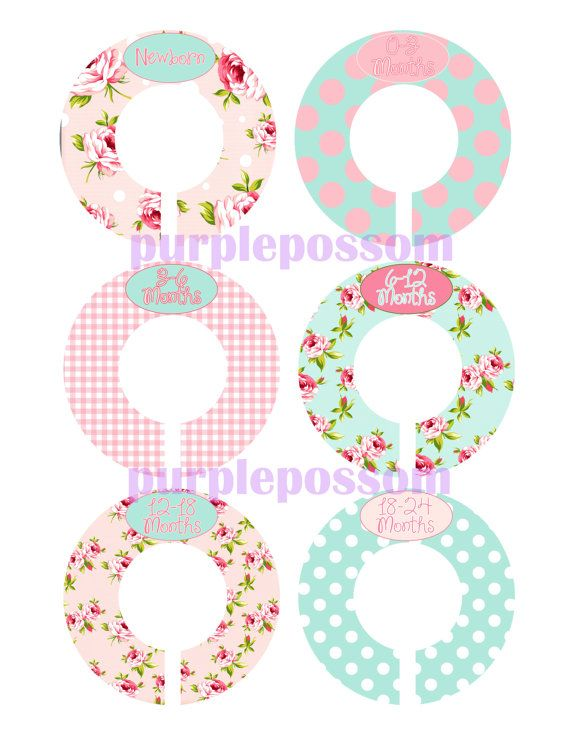 Custom Closet Dividers Baby Closet Dividers Shabby Chic Patterns Pink and Aqua Baby Shower Gift Closet Organizers Baby Girl Nursery on Etsy, $9.00