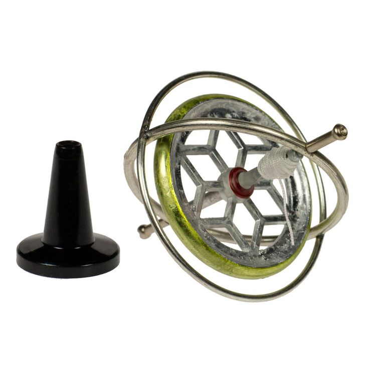 Gyroscope made from steel in a 1950s look.