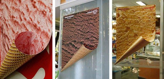 Pubblicità del gelato a forma di cono, ghiotta e invitante!