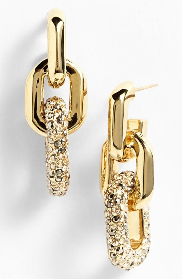 On the Mother's Day wish list - St. John Collection pavé crystal chain link linear earrings.