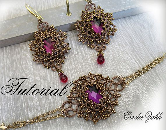 Frivolite lace jewelry.PDF Tatting Pattern Lina set por Emeliebeads