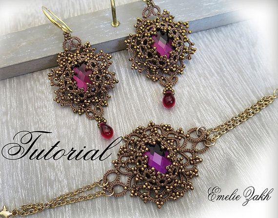 Bijoux de dentelles Frivolite. PDF frivolité modèle Lina ensemble boucles d