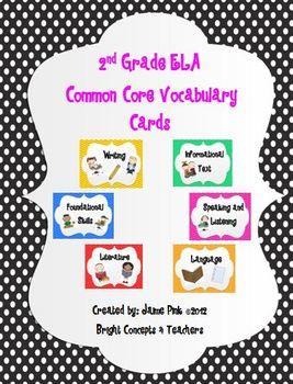 ELA Common Core Vocabulary Cards-Second Grade - Bright Concepts 4 Teachers - TeachersPayTeachers.com