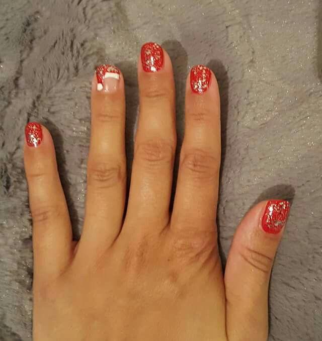 Freehand nail art... Christmas nails from December 2016.. Santa hat nails