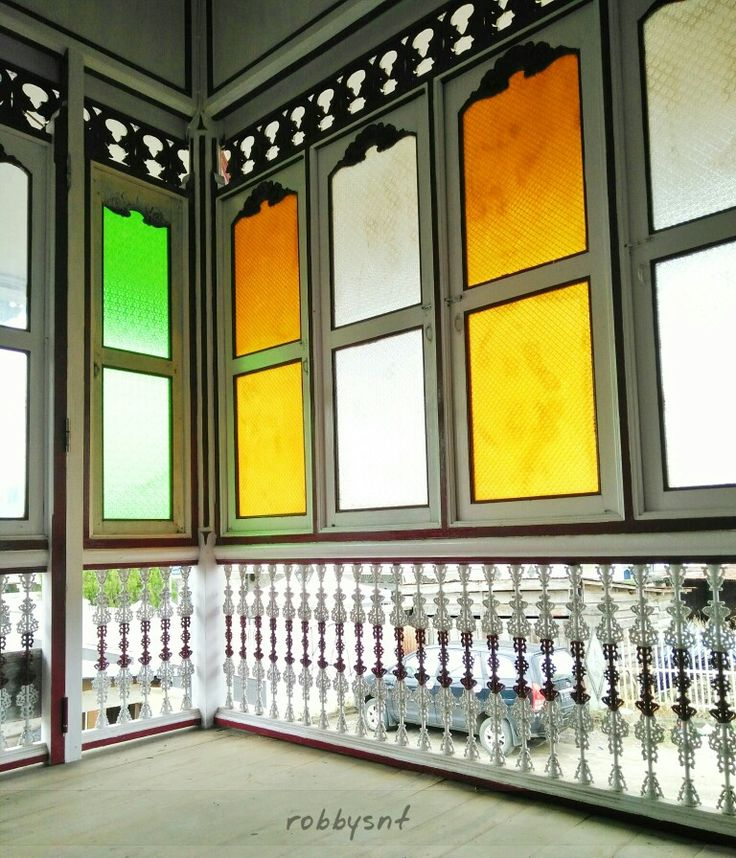 Stained glass and casted iron as a part of palembang traditional house decoration.
