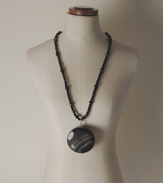 Onyx and 925% Silver necklace