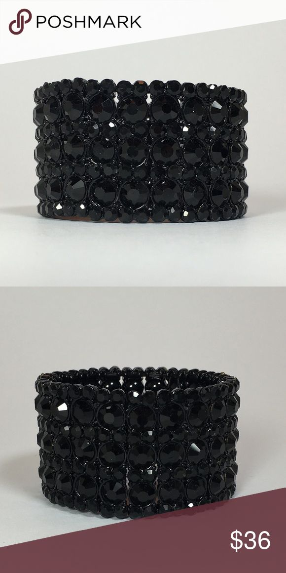 🎹Glendon Bracelet - Black with Black Crystals 💝FREE GIFT💝On All Orders🎁including: jewelry, handbags, scarves. ✨This stunning bracelet is a true statement piece. Studded with dazzling Austrian crystals 💎. Stretchy elastic will fit most any wrist. Match it with some cute rhinestone earrings and a trendy dress/gown 👗 & heels 👠 for that fabulous chic look💅🏼. Ideal for weddings💍, bridesmaids, formals, prom, sweet 16, quinceanera, beauty pageants, modeling, photo-shoots, girls-night-out…