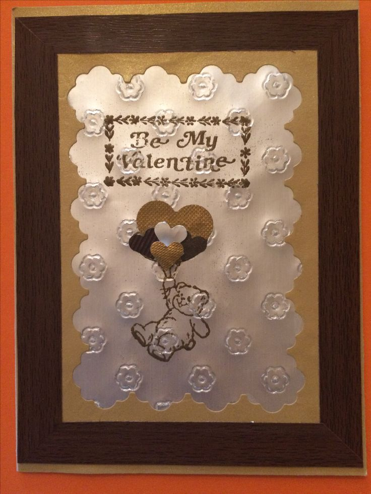 Valentines Card - Foil paper embossed with brown & gold Teddy & balloons