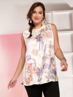 Blusa mujer de satén sin mangas con estampado floral
