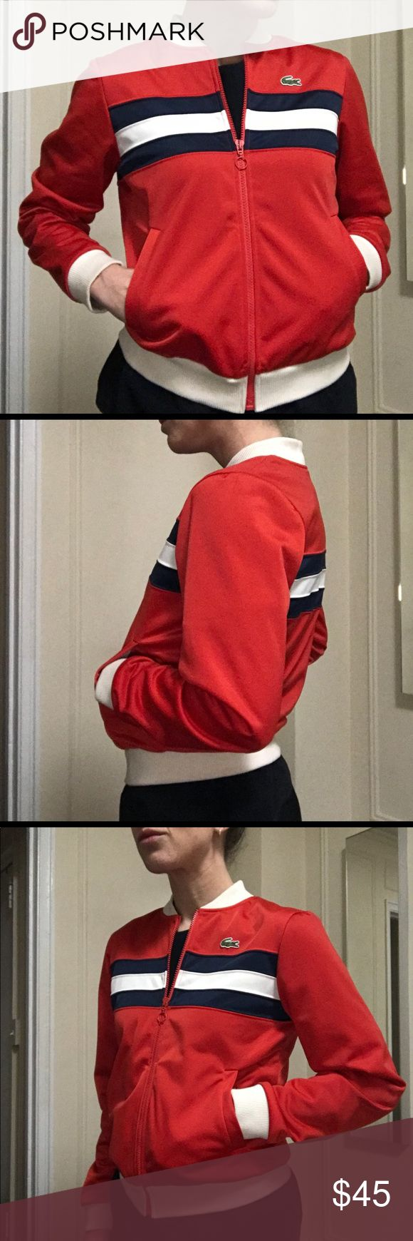 Lacoste Red Navy Stripe Bomber Jacket Small S 38 Lacoste Women's Polyester Varsity Bomber Style Jacket in Red with Navy and Cream Stripes and Cream Ribbed Fabric at Neck, Hem, and Cuffs. Alligator logo on chest. Size 38 (Small). Barely worn. Lacoste Jackets & Coats