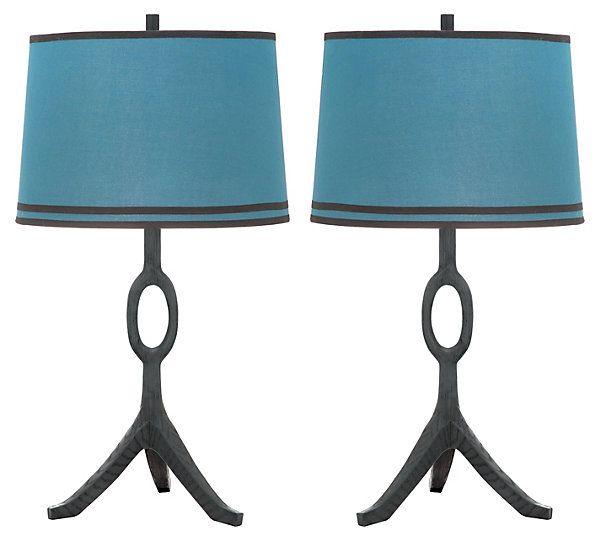 Packwood Table Lamp Set, Blue Linen   Equestrian Chic ...