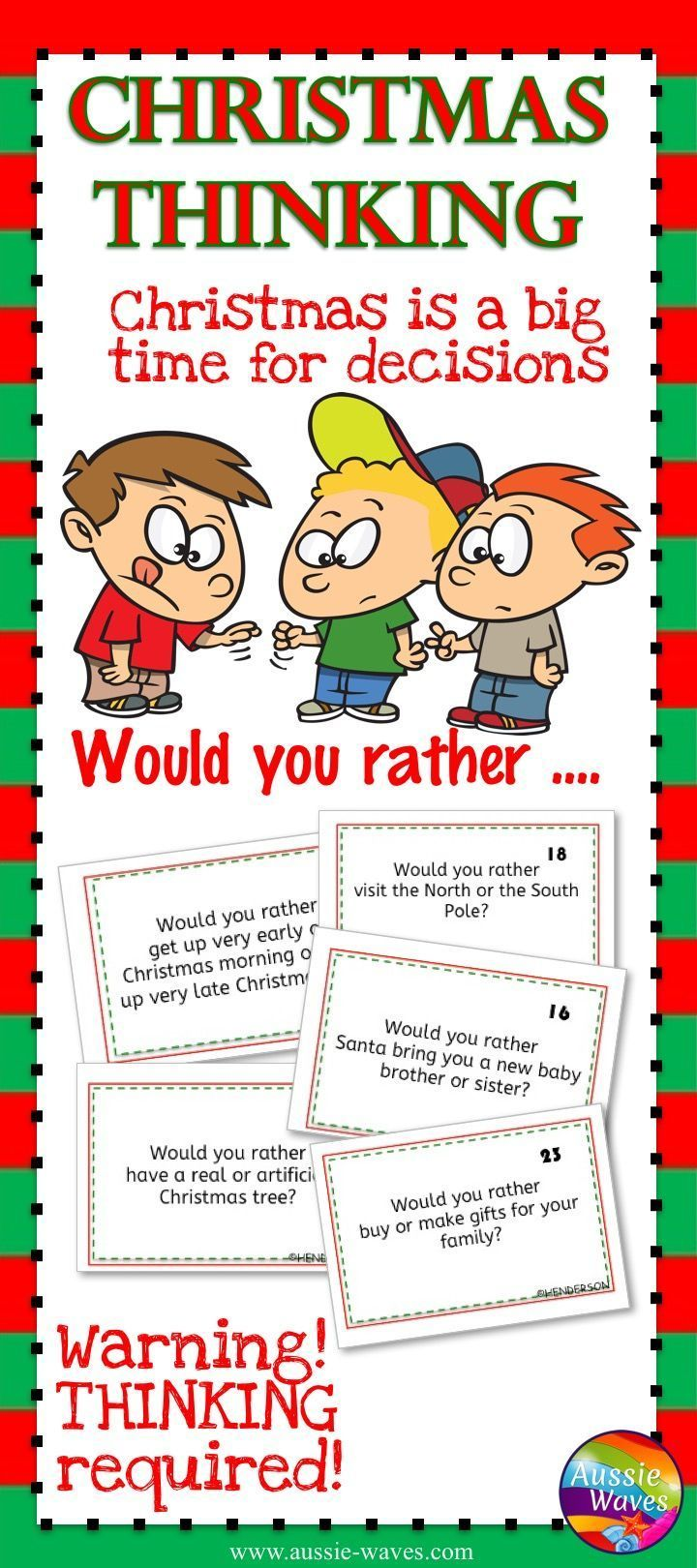 Educational Christmas Resource. Printable fun for kids! What would you rather?