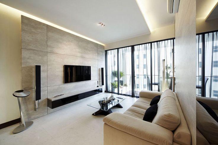 Dunearn, Modern Condominium Interior Design, Living Room.