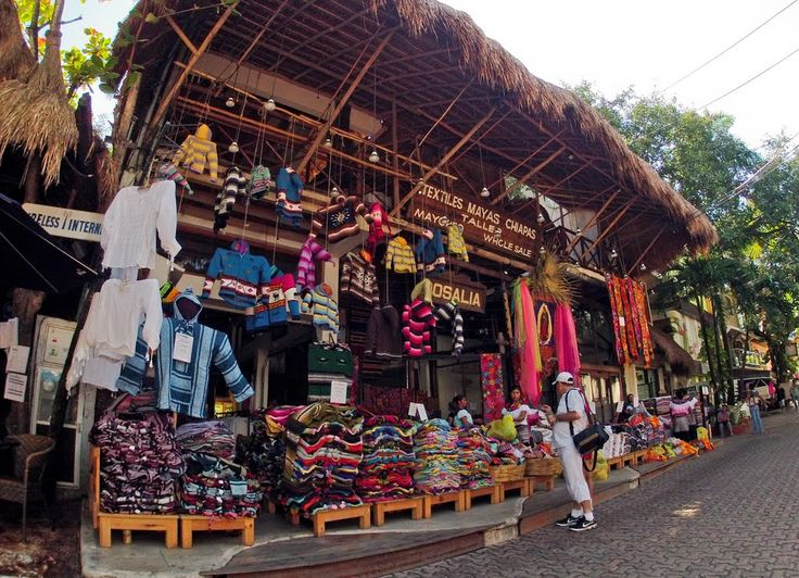Rosalia Shopping For Textiles Downtown Playa Del Carmen