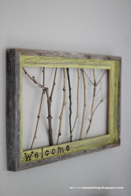 Love this idea! =): Crafts Ideas, Frames Sticks, Crafty, Welcome Signs, Old Frames, Diy Wall Art, Clever Crafts, Create Nature, Twig Art