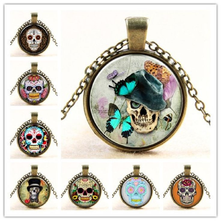 Wholesale Glass Dome Jewelry - Skull Necklace Sugar Skull Necklace Pendants Skull Necklace Women/Men