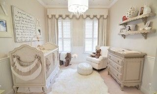 Soft, neutral, elegant baby nursery interior. Crin by Restoration Hardware and changing table by AFK Furniture.