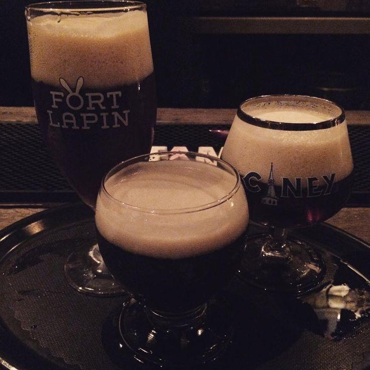 """Beer tasting! L2R: Fort Lapin, Liefmans 'Goudenband', Ciney Bruin #Bruges #beer #belgium"""
