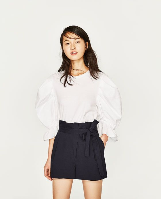 Image 2 of BERMUDA SHORTS WITH BOW AT THE WAIST from Zara