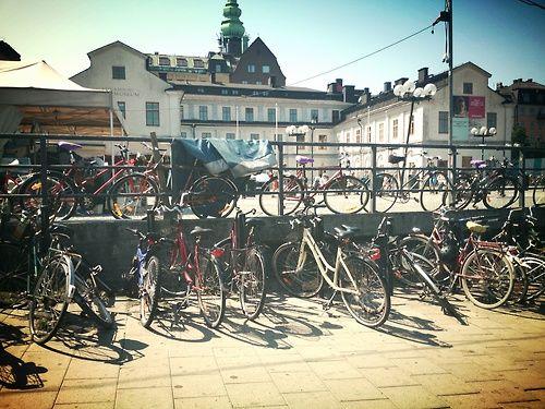Parked bikes at Slussen, Stockholm.