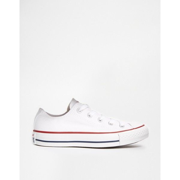 Converse Chuck Taylor All Star Core White Ox Trainers (€52) via Polyvore featuring shoes, sneakers, white trainers, converse shoes, converse sneakers, star sneakers et star shoes