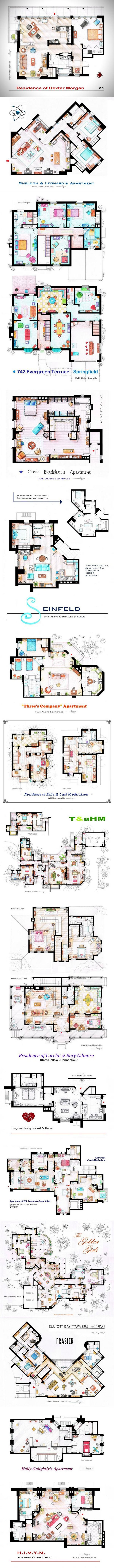 15 Famous TV Show Home Floor Plans. Now i wanna play Sims..