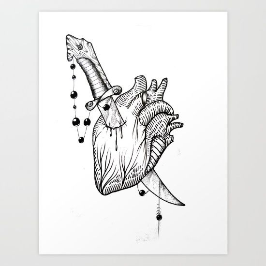 Buy Heart and Knife Art Print by Jeso Jeso. Worldwide shipping available at Society6.com. Just one of millions of high quality products available.