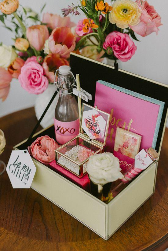 bridesmaid gift box. Source: http://www.weddingchicks.com/2016/06/13/cute-bridal-shower-ideas