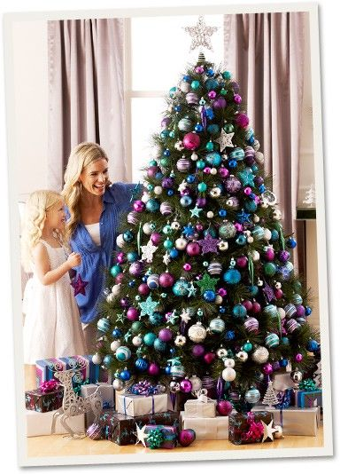 pinterest christmas tree pink purple and silver decorations | know that I would love to have my tree looking like this one year!