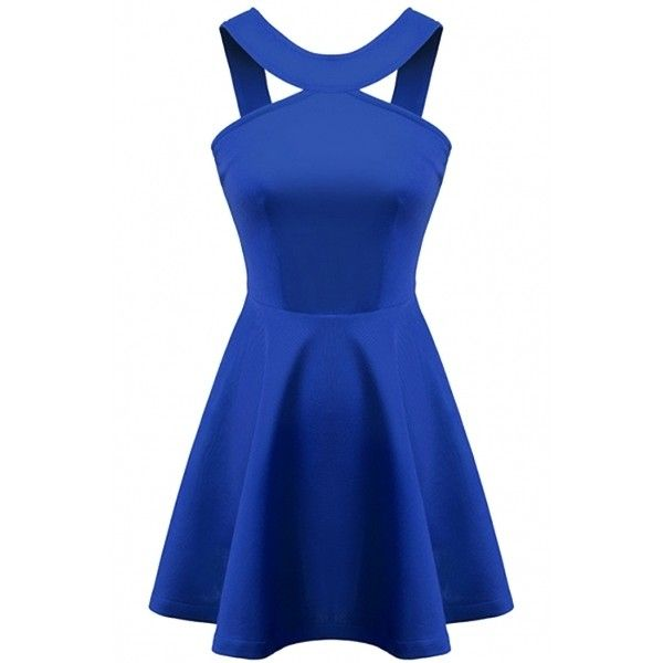 Charming Backless Strappy Mini Party Dress ($24) ❤ liked on Polyvore featuring dresses, vestidos, robes, short dresses, short blue dresses, knit dress, blue sleeveless dress and summer dresses