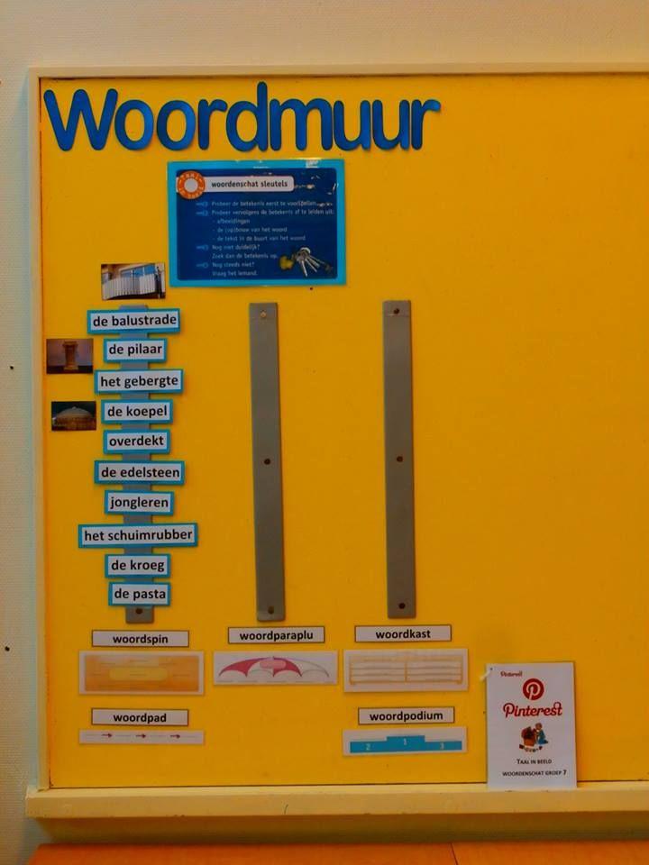 Woordmuur ondersteund met de woordschema's en leerlingen gaan zelf bij de woorden van de woordmuur afbeeldingen en flimpjes pinnen. Daarvoor is een handleiding geschreven.