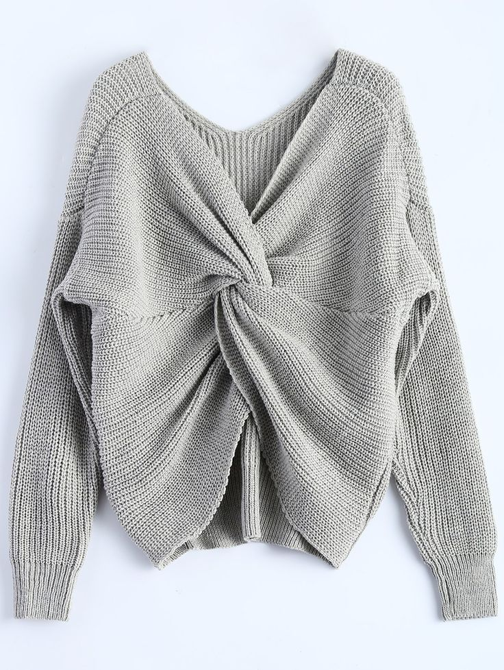 V Neck Twisted Sweater
