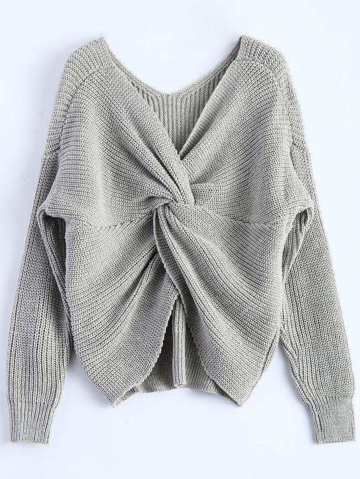 $19.99 V Neck Twisted Back Sweater GRAY: Sweaters   ZAFUL