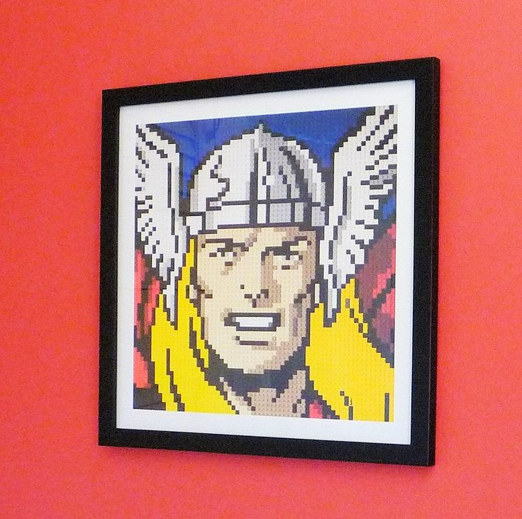 "Thor print of original Lego® mosaic (12"" square) by OxfordBrickArt on Etsy"