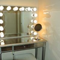 Bedroom. Rectangle Vanity Mirror With White Light Bulbs On Rectangle Mirrored Vanity Table With Single Drawer In White Bedroom. Wonderful Ideas Of Vanity Mirror With Lights For Bedroom With Enchanting Looks