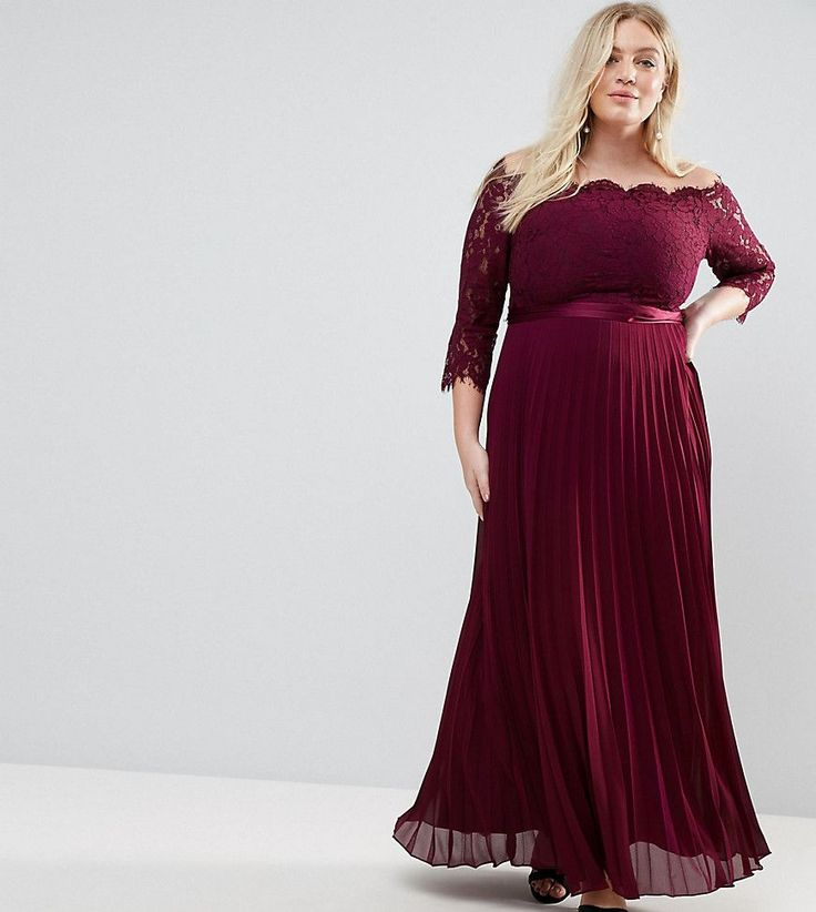 Coast Plus Imi Lace Bodice Maxi Dress With Pleated Skirt - Red