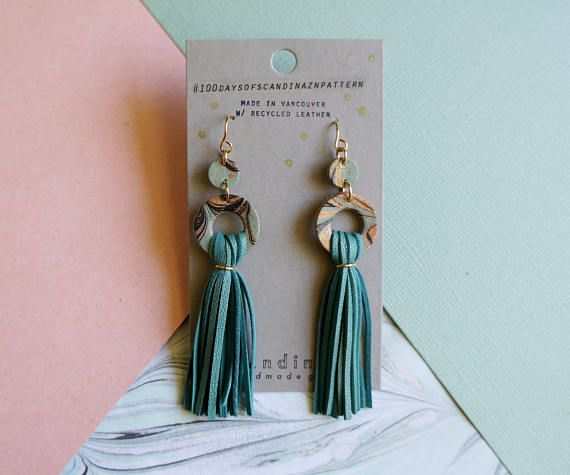 Turquoise Marbled Leather Tassel Earrings + + +   Made with upcycled leather jackets     Scandinazn