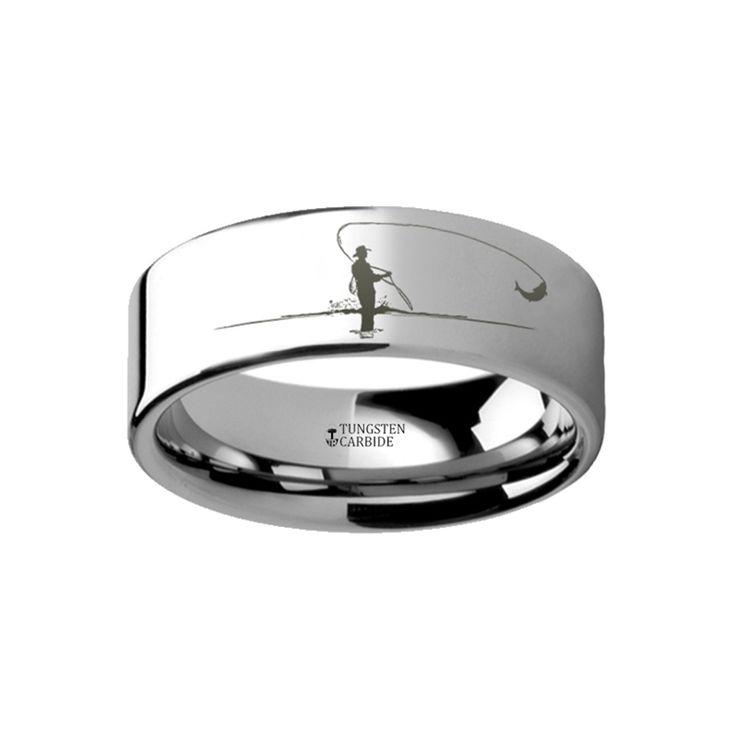 Hunting Landscape Scene Fly Fishing Fishermen Fish Ring Engraved Flat Tungsten Ring - 4mm - 12mm