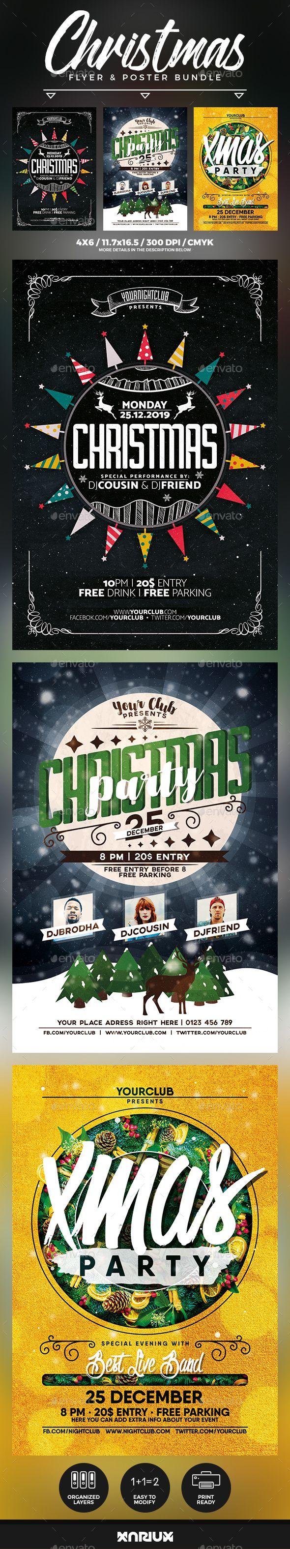 Christmas Party Flyer & Poster Bundle Template