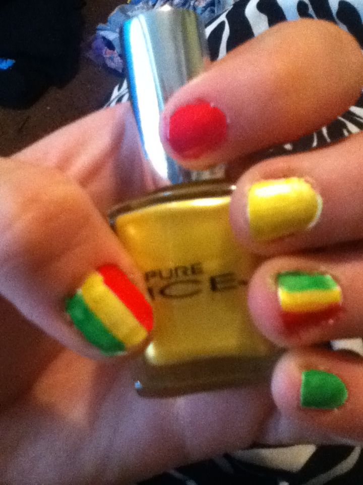 Rasta nails #beauty #nails #rasta