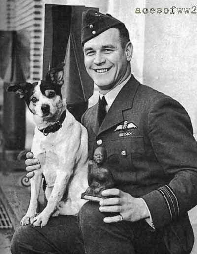 Adolph Gysbert Malan, DSO & Bar, DFC & Bar (24 Mar 1910 – 17 Sep 1963), better known as 'Sailor' Malan, was a famed South African WW II RAF fighter pilot who led No. 74 Sqdn RAF during the height of the Battle of Britain. Malan was known for sending German bomber pilots home with dead crews as a warning to other Luftwaffe crews. Under his leadership No. 74 became one of the RAF's best units. Malan scored 27 kills, seven shared destroyed, three probably destroyed and 16 damaged.