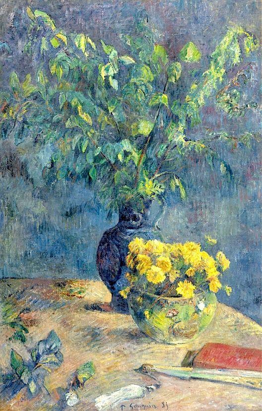 Paul Gauguin 1848 - 1903 Deux Vases De Fleurs Et Un Éventail