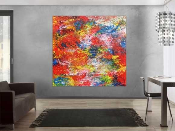 Modernes Acrylbild abstrakt und bunt 100x200cm von xxl-art.de