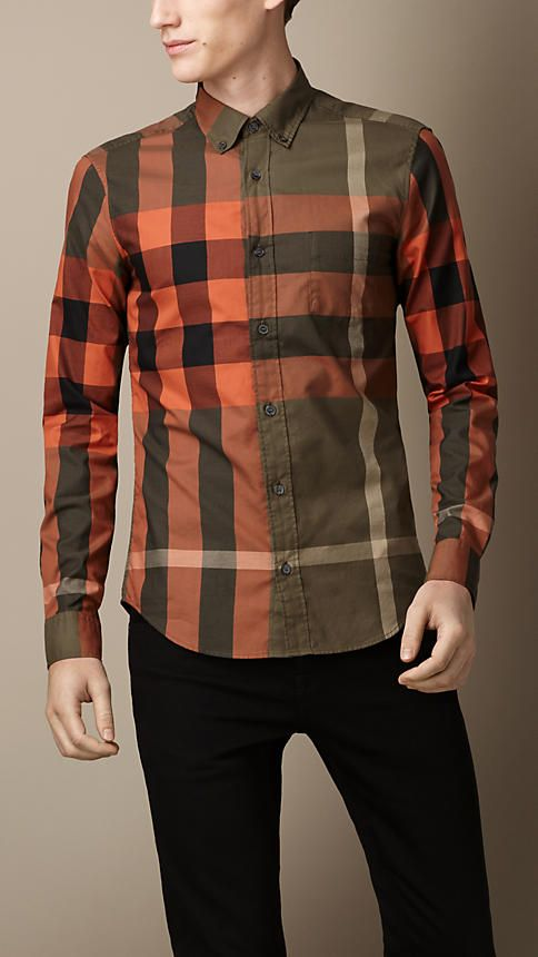 Burberry Exploded Check Cotton Shirt / Military Khaki