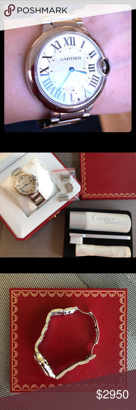 Cartier Ballon Bleu Stainless Steel Watch Medium 35% off Retail. Ballon Bleu de Cartier watch, 33 mm (medium size), mechanical movement, auto winding. Steel case, silvered guilloché opaline dial, Roman numerals, blued-steel hands, sapphire crystal, steel bracelet. Diameter: 33 mm, thickness: 9.96 mm. Water-resistant approx. 30 meters/100 ft  Purchased 2010 at Cartier store in Singapore. Authentic with orig packaging (box little damaged). Well worn but very well taken care of! This model does…