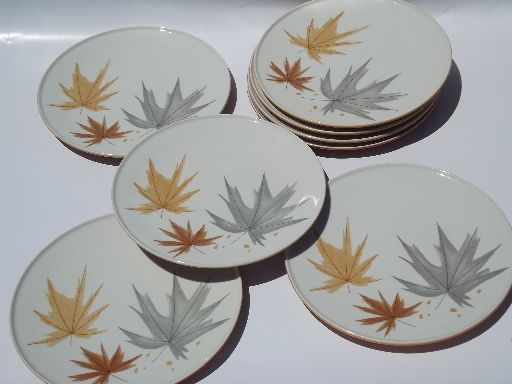 Photo of Mid-century mod Ben Siebel Iroquois pottery plates, Harvest Time leaves #1