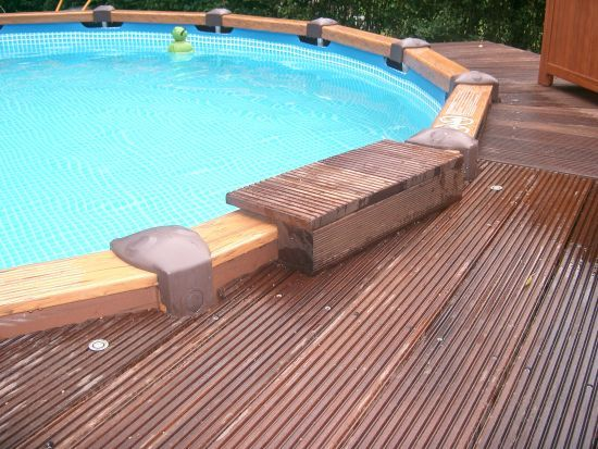 63 best intex pool deck images on pinterest backyard for Swimmingpool verkleidung