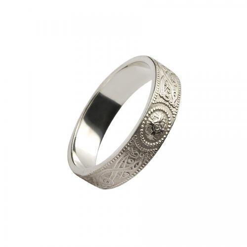 Medbh Warrior Shield Wedding Ring-Silver