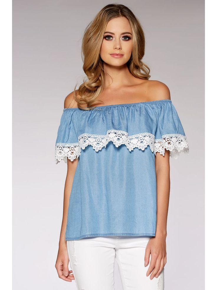 Blue And White Crochet Trim Bardot Top